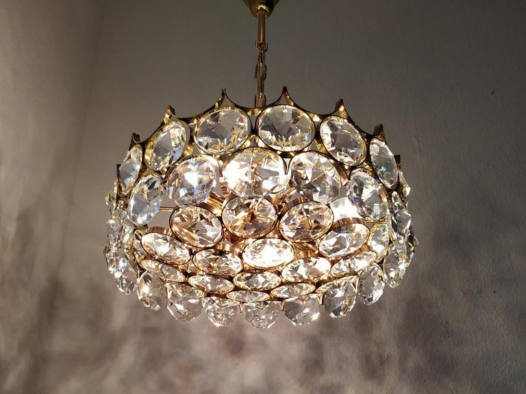 Mid Century German Vintage Gilt Brass and Glass Ceiling Light Chandelier, 1960s For Sale 5