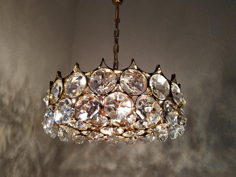 Mid-Century Modern Mid Century German Vintage Gilt Brass and Glass Ceiling Light Chandelier, 1960s For Sale