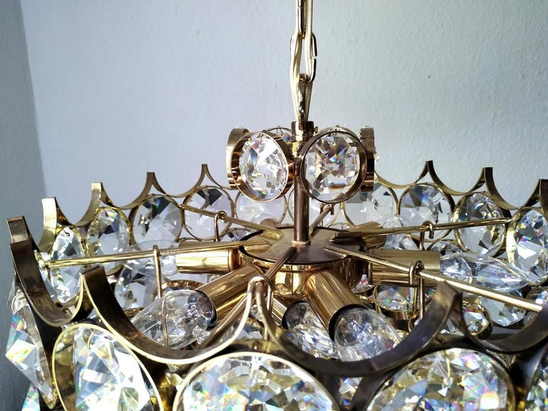 20th Century Mid Century German Vintage Gilt Brass and Glass Ceiling Light Chandelier, 1960s For Sale