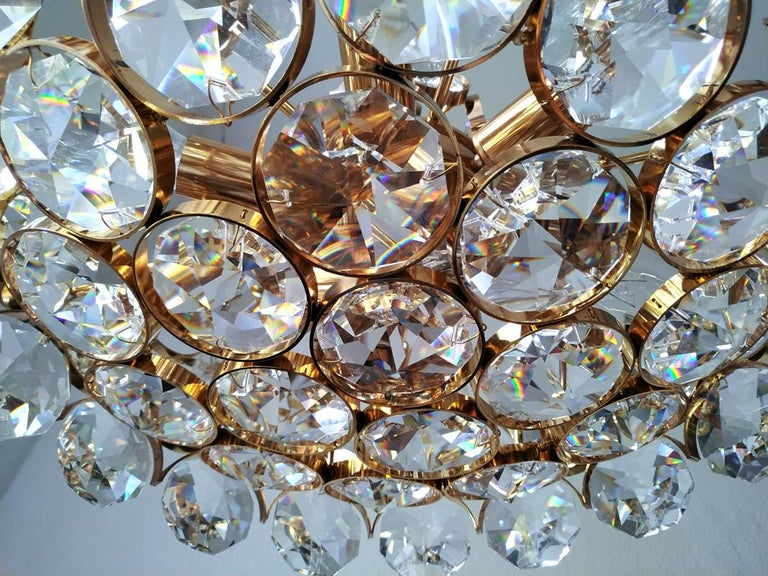 Mid Century German Vintage Gilt Brass and Glass Ceiling Light Chandelier, 1960s For Sale 2