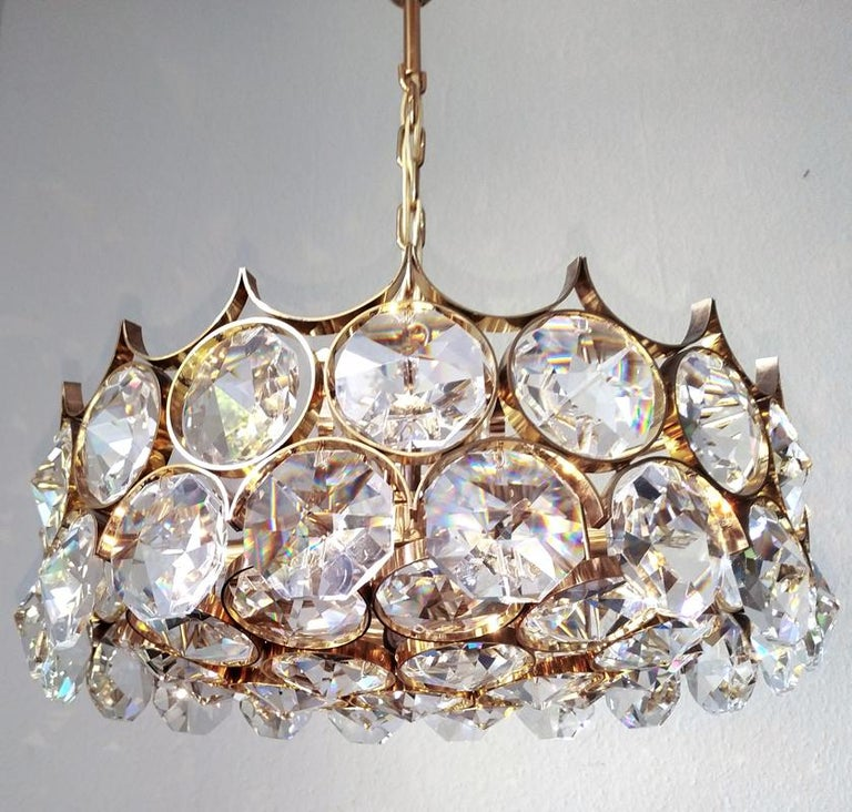 Mid Century German Vintage Gilt Brass and Glass Ceiling Light Chandelier, 1960s For Sale 3