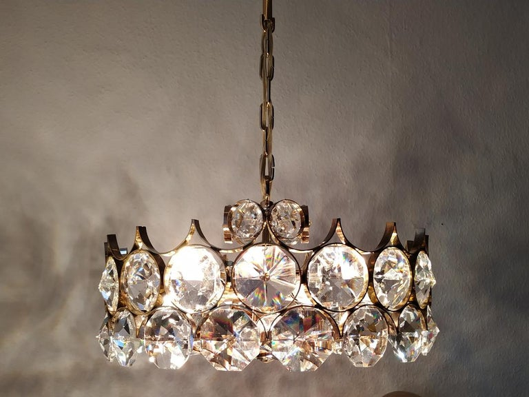 Mid Century German Vintage Gilt Brass and Glass Ceiling Light Chandelier, 1960s For Sale 4