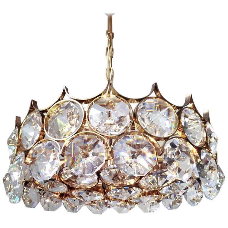 Mid Century German Vintage Gilt Brass and Glass Ceiling Light Chandelier, 1960s For Sale