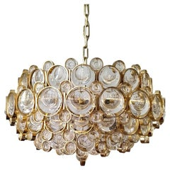 German Vintage Gilt Brass and Glass Ceiling Light Pendant Chandelier, 1960s