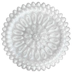 German Vintage Large Crystal Bubble Glass Ceiling or Wall Flushmount, 1960s