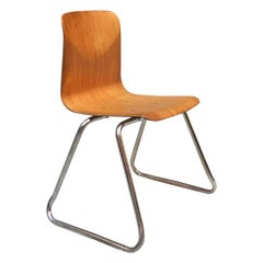 German Vintage Light Wood and Chromed Steel Pagholz Chair, 1960s