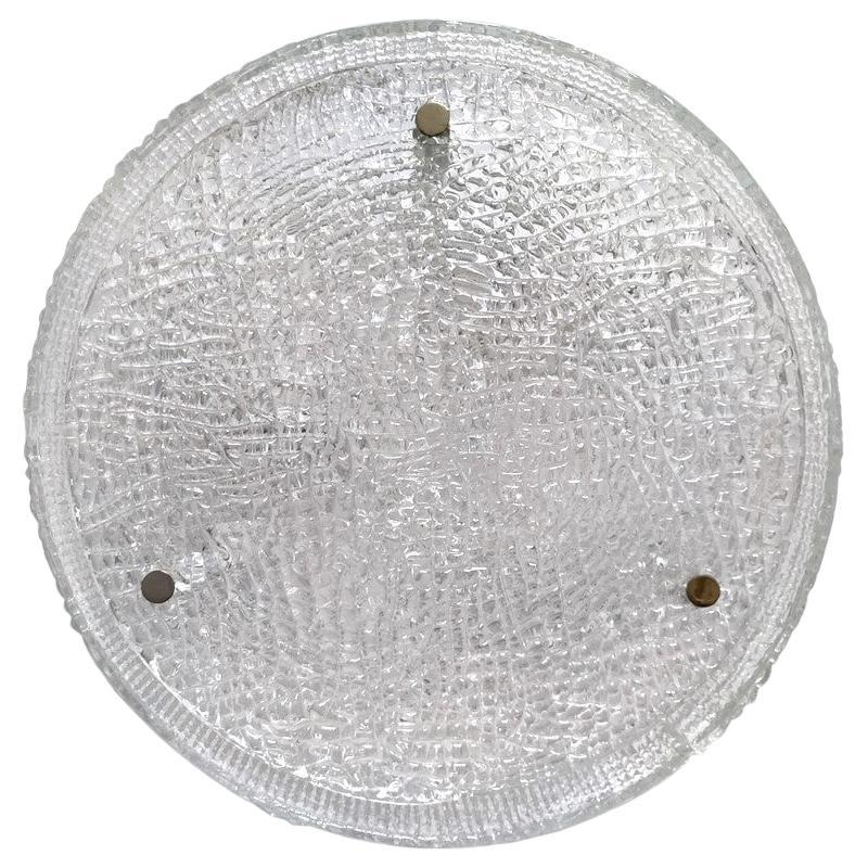 German Vintage Textured Murano Glass Ceiling Light Flushmount, 1960s