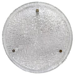 German Vintage Textured Murano Glass Ceiling Light Flushmount, 1960s
