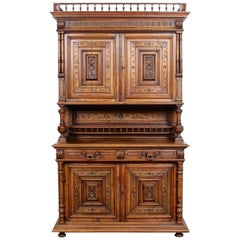 German Walnut Bookcase Large Cabinet Carved, 19th Century