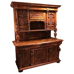 German Walnut Schrank or Cabinet with Boldly Carved Panel Doors