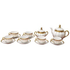German White and Gold Porcelain Tea Set by Schaller, 15 Pieces