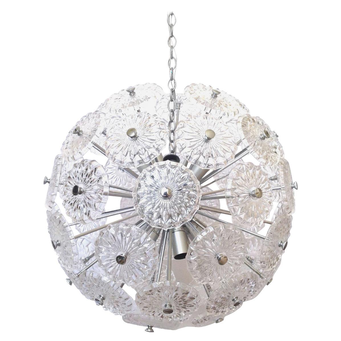 Germany Midcentury Sputnik Clear Crystal Chandelier, 1960s