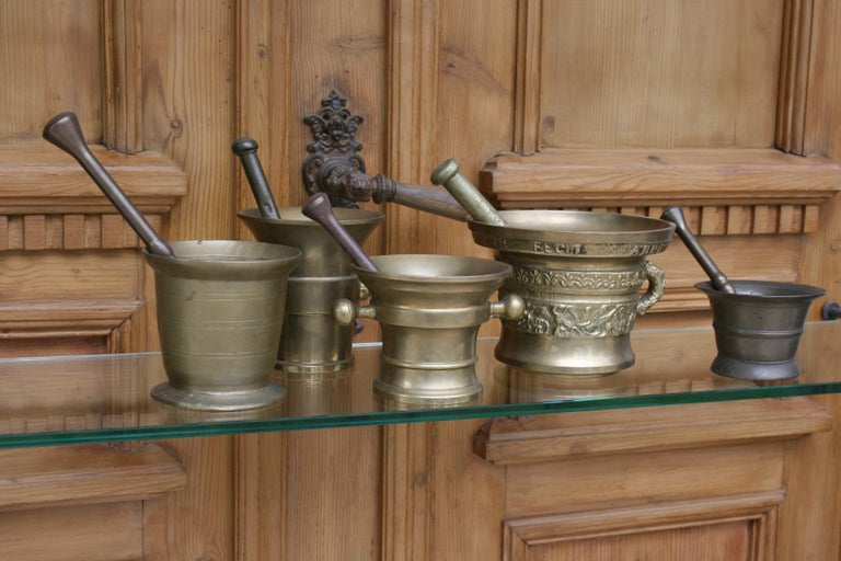 20th Century Germany Pharmacy Apothecary Mortar with Pestles, Set of 5 For Sale