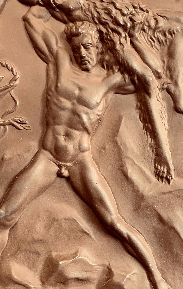 Rare and fascinating, this allegorical plaque depicts a nude, strong Germany triumphing over a bearded savage, representing the Soviet Union, who is holding -- of course -- a Hammer in one hand and a sickle in the other. The Soviet's Hammer is also
