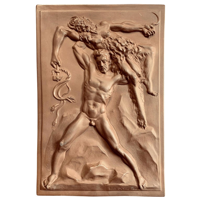 """""""Germany Triumphing Over the Soviets,"""" Propaganda Bas Relief Sculpture, Meissen For Sale"""
