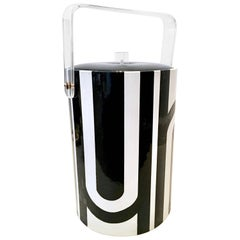 Geroges Briard Lucite and Vinyl Geometric Thermal Ice Bucket