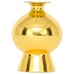 Gerold Porzellan Gold Vase, Porcelain Metallic, Signed
