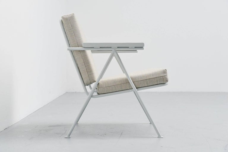 Rare small armchair designed by Gerrit Thomas Rietveld, Utrecht Holland 1949. This chair was made by a local blacksmith and was a pre Nemefa production which was supposed to be bigger and heavier. This chair has a solid steel frame with raster back