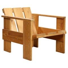 Gerrit Rietveld Midcentury Dutch Modernist Pinewood Crate Chair, circa 1950s