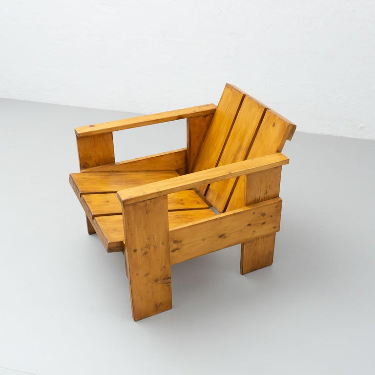 Gerrit Rietveld Mid-Century Modern Wood Crate Chair, circa 1950 For Sale 5