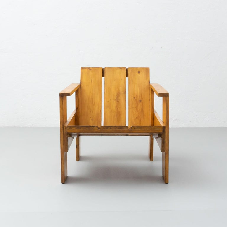 Crate chair designed by Gerrit Thomas Rietveld, executed circa 1950 by Metz and Co in Holland.
