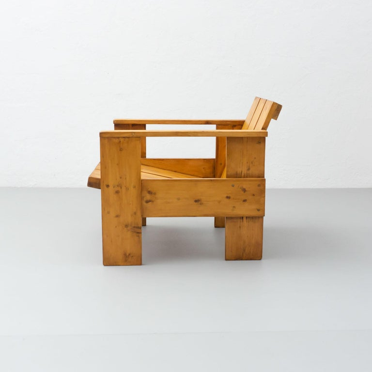Dutch Gerrit Rietveld Mid-Century Modern Wood Crate Chair, circa 1950 For Sale