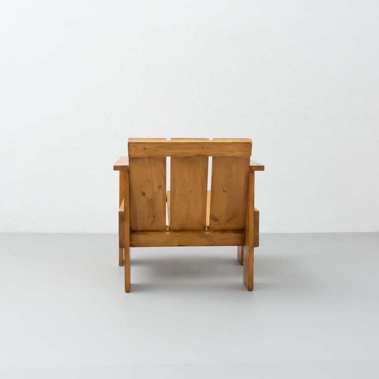 Mid-20th Century Gerrit Rietveld Mid-Century Modern Wood Crate Chair, circa 1950 For Sale