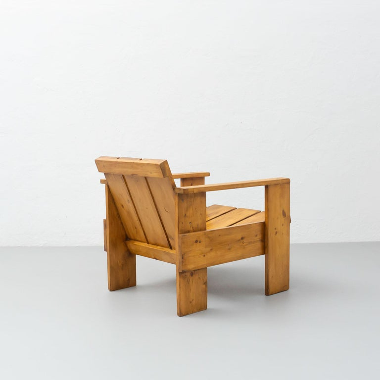 Gerrit Rietveld Mid-Century Modern Wood Crate Chair, circa 1950 For Sale 1