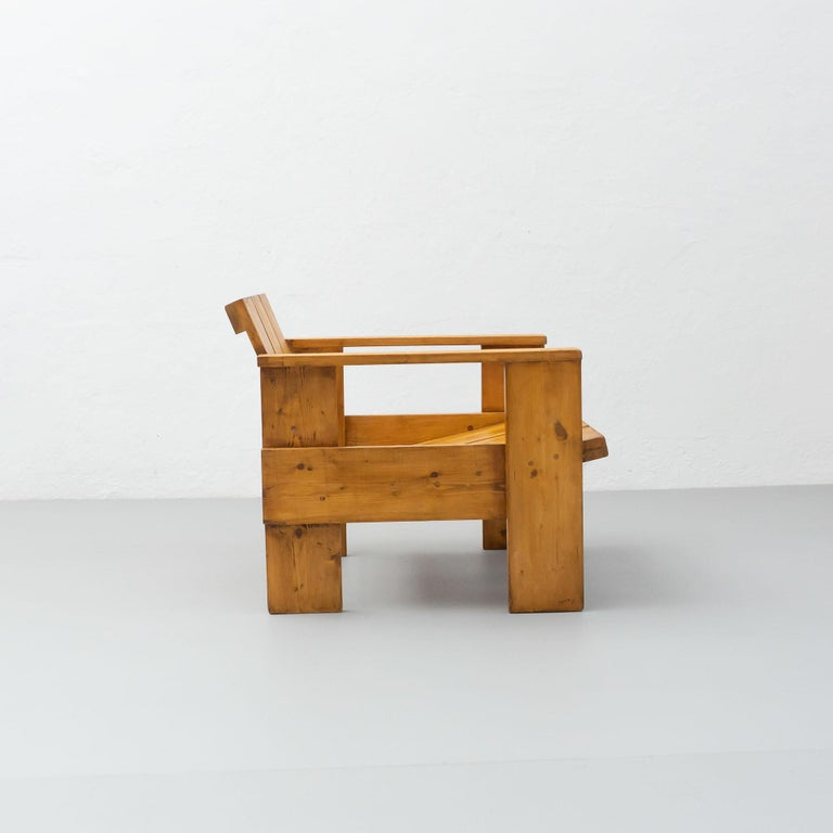 Gerrit Rietveld Mid-Century Modern Wood Crate Chair, circa 1950 For Sale 2