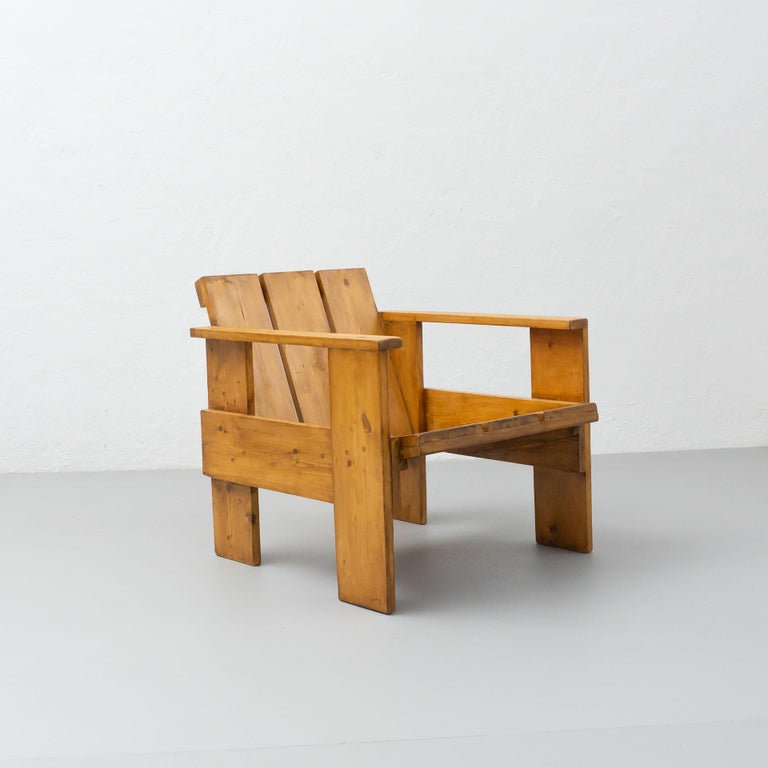 Gerrit Rietveld Mid-Century Modern Wood Crate Chair, circa 1950 For Sale 3