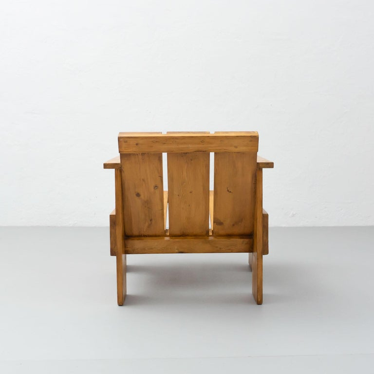 Gerrit Rietveld Mid-Century Modern Wood Crate Chair, circa 1950 For Sale 4