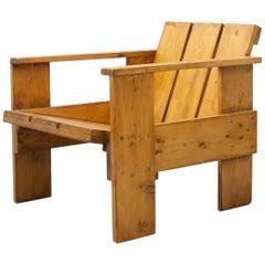 Gerrit Rietveld Mid-Century Modern Wood Crate Chair, circa 1950