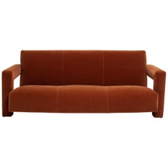 Gerrit Rietveld Sofa for Metz & Co. in Terracotta Mohair Velvet, circa 1937
