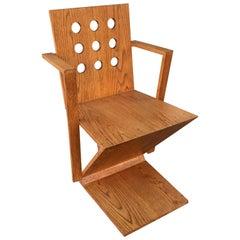 Gerrit Rietveld Style Oak Chair