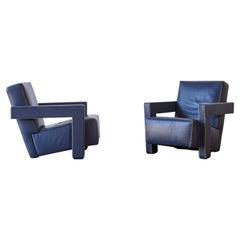 Gerrit Rietveld Utrecht Armchairs in Blue Leather, Cassina