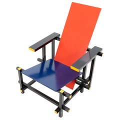 Gerrit T Rietveld style Red and Blue Armchair