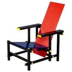 Gerrit Thomas Rietveld De Stijl Armchair Red and Blue by Cassina