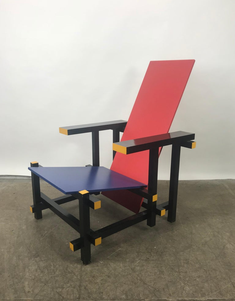 Design iconic chair of all design chairs, this rare and worldwide famous so called red blue chair designed by one of the most important architects and designers Holland has ever known. This chair was originally designed in 1923 but was produced and