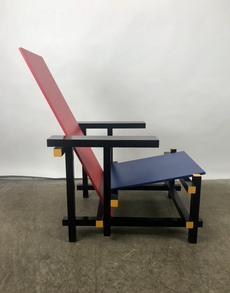 Painted Gerrit Thomas Rietveld Red Blue Chair Gerard van de Groenekan For Sale
