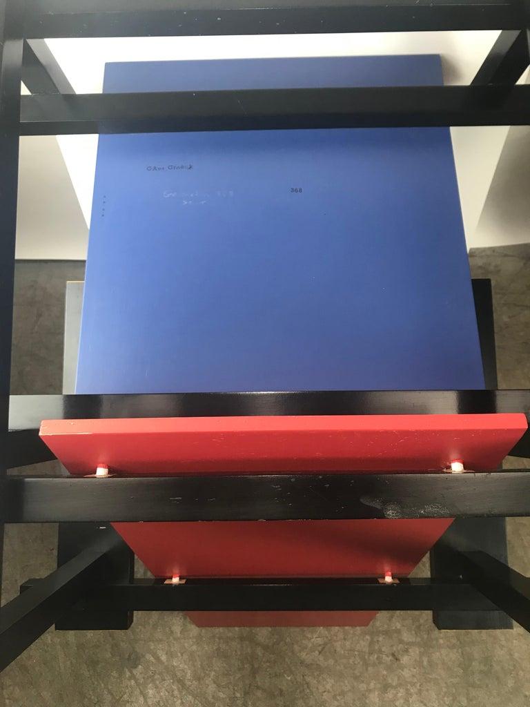 Wood Gerrit Thomas Rietveld Red Blue Chair Gerard van de Groenekan For Sale
