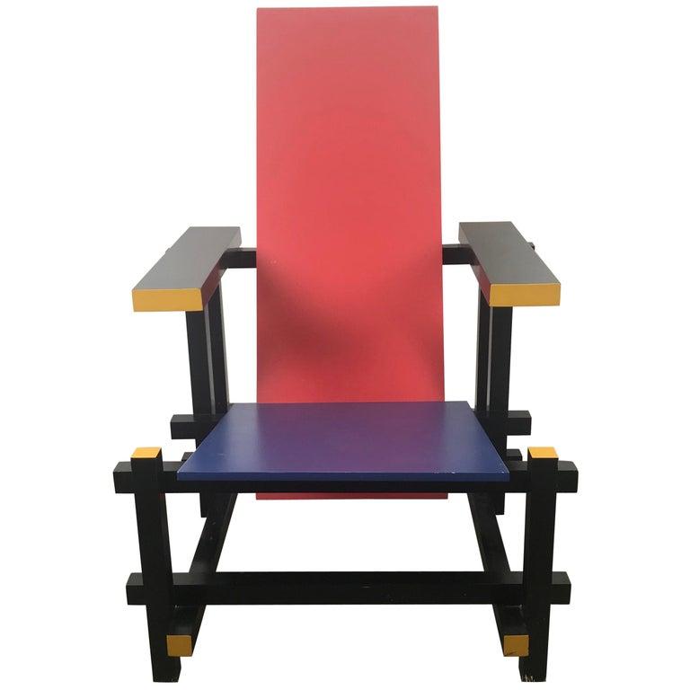 Gerrit Thomas Rietveld Red Blue Chair Gerard van de Groenekan For Sale