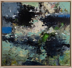 Vintage American Modernist Nature Abstract Composition Signed Oil Painting