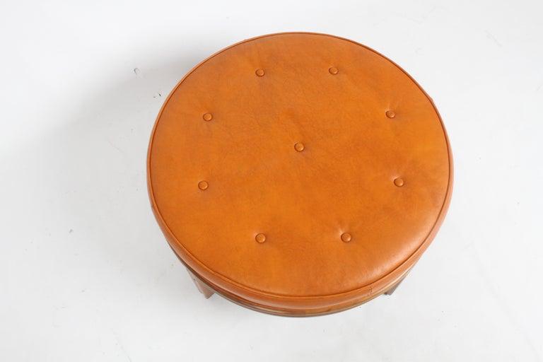 Gerry Zanck for Gregori, Round Orange Leather Pouf or Ottoman on Walnut base  For Sale 5