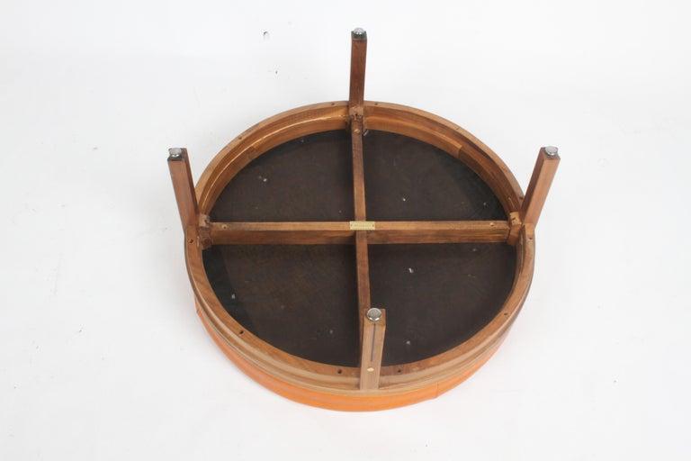 Gerry Zanck for Gregori, Round Orange Leather Pouf or Ottoman on Walnut base  For Sale 6