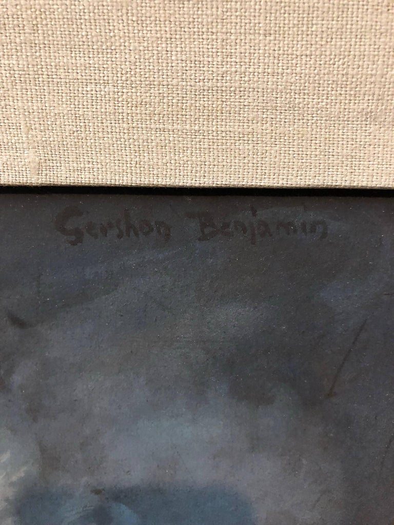 American Modernist Social Realist Seamstress Portrait Painting - Black Figurative Painting by Gershon Benjamin