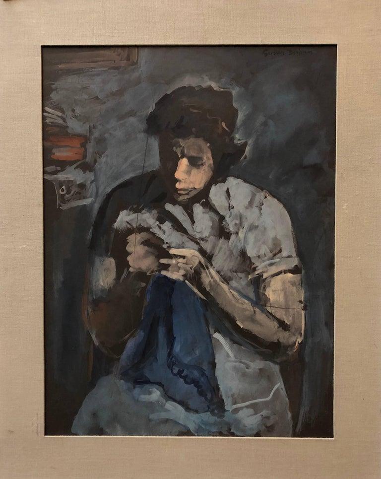 Gershon Benjamin Figurative Painting - American Modernist Social Realist Seamstress Portrait Painting