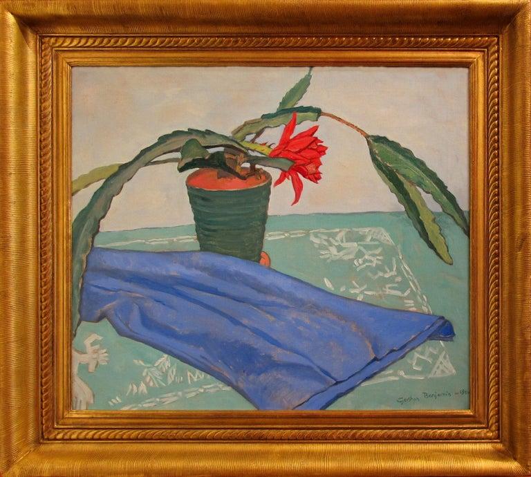 "Gershon Benjamin Still-Life Painting - ""Flowering Cactus"""