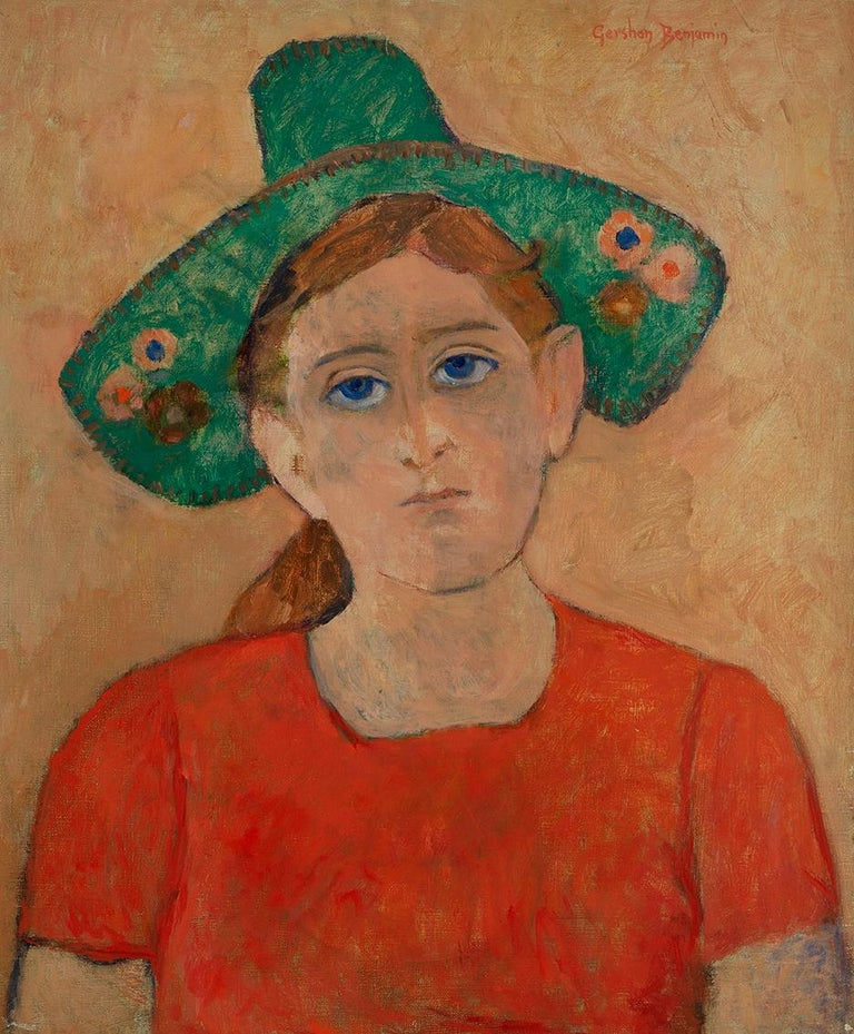 Green Hat - Painting by Gershon Benjamin