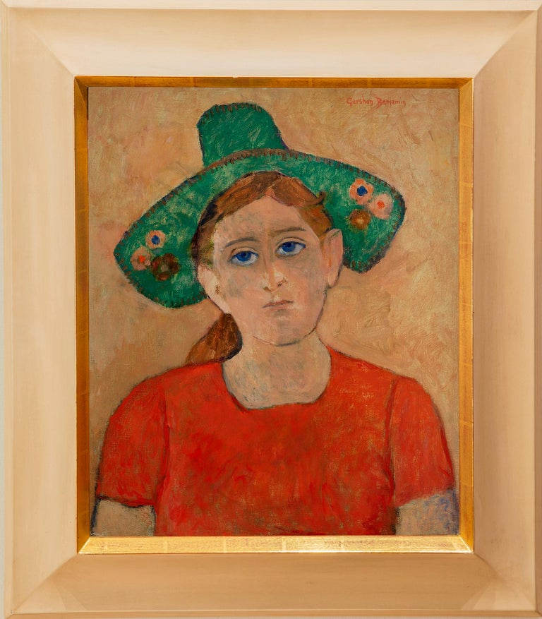 Gershon Benjamin Abstract Painting - Green Hat