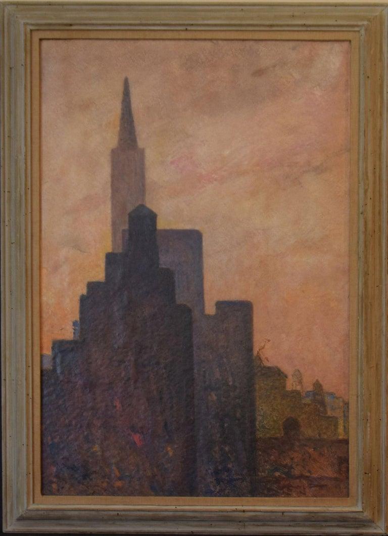 Gershon Benjamin Landscape Painting - Manhattan-  Modernist Mid 20th Century WPA modernism NYC large urban landscape